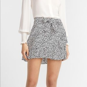 High Waisted Dot Print Ruffle Mini Skirt Size 8